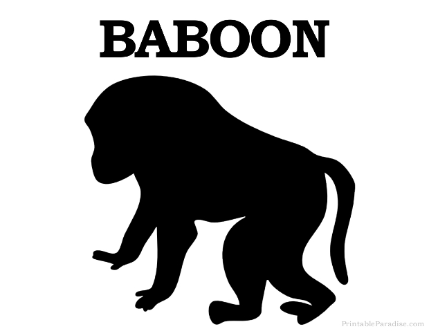 Printable Animal Silhouettes Printable Baboon Silhouette