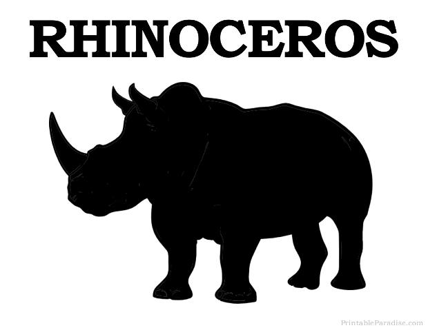 Printable Rhino Silhouette - Print Free Rhinoceros Silhouette