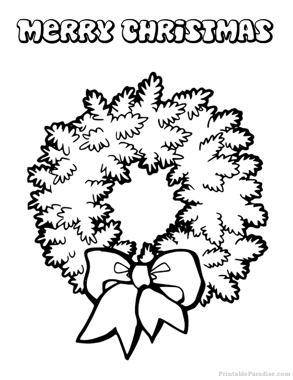 Printable Christmas Wreath Coloring Page