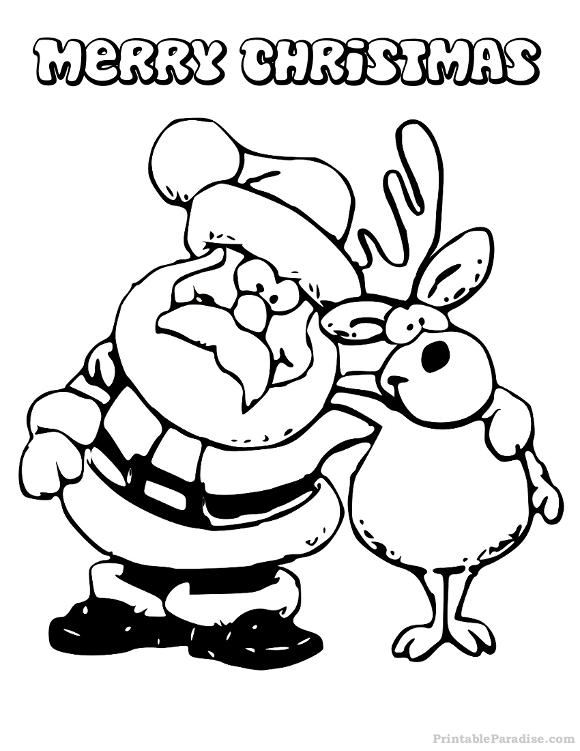 Printable Santa and Reindeer Christmas Coloring Page