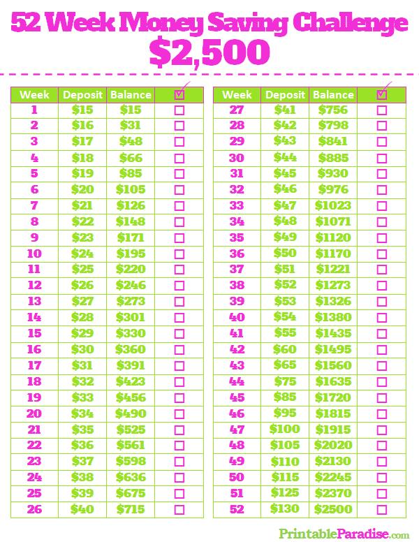 printable 1 year money saving challenge sheet