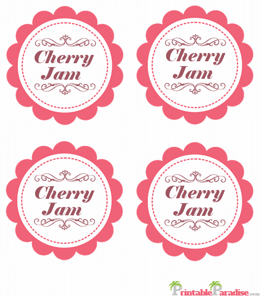 Printable Cherry Jam Jar Canning Labels