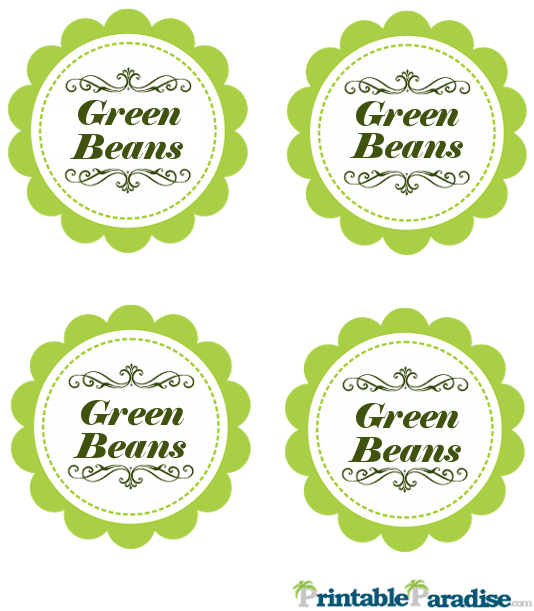 Printable Green Beans Jar Canning Labels
