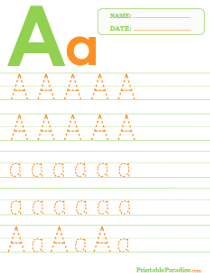 Letter A Dotted Trace Sheet
