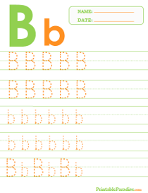 Letter B Dotted Trace Sheet