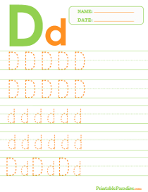 Letter D Dotted Trace Sheet
