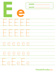 Letter E Dotted Trace Sheet