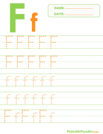 Letter F Dotted Trace Sheet