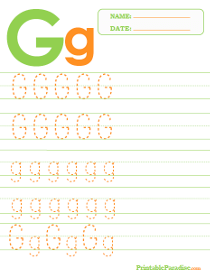 Letter G Dotted Trace Sheet