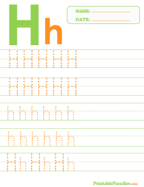Letter H Dotted Trace Sheet