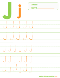 Letter J Dotted Trace Sheet