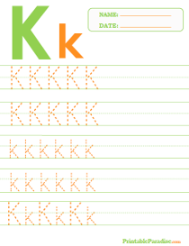 Letter K Dotted Trace Sheet