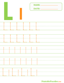 Letter L Dotted Trace Sheet