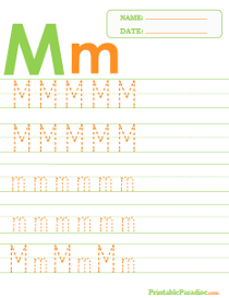 Letter M Dotted Trace Sheet