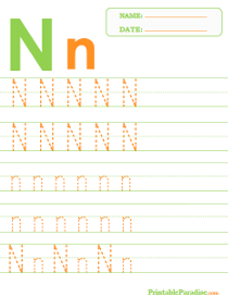 Letter N Dotted Trace Sheet
