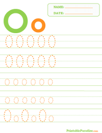 Letter O Dotted Trace Sheet