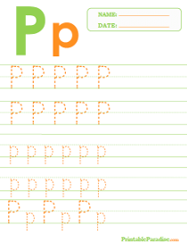 Letter P Dotted Trace Sheet