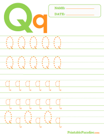 Letter Q Dotted Trace Sheet