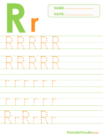 Letter R Dotted Trace Sheet
