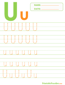 Letter U Dotted Trace Sheet