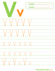 Letter V Dotted Trace Sheet