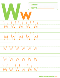 Letter W Dotted Trace Sheet