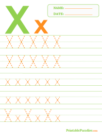 Letter X Dotted Trace Sheet