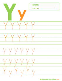 Letter Y Dotted Trace Sheet