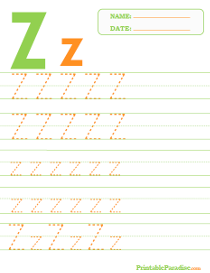 Letter Z Dotted Trace Sheet