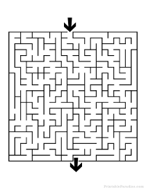Printable Square Maze - Medium Difficulty