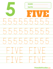 Number 5 Dotted Trace Sheet
