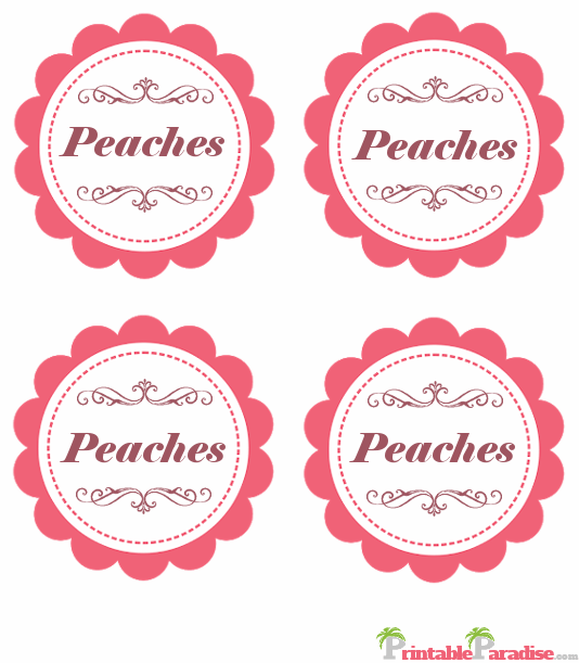 Printable Peaches Jar Canning Labels