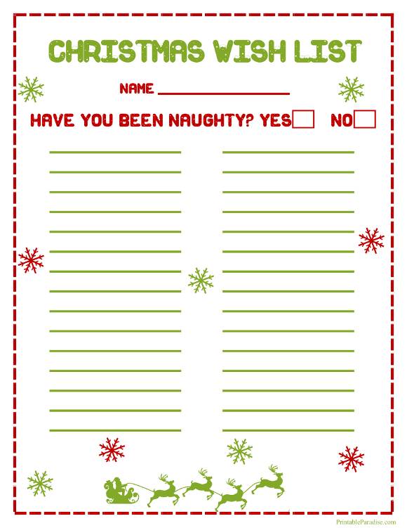 Good PrintableParadise.com Throughout Christmas Wish List Printable