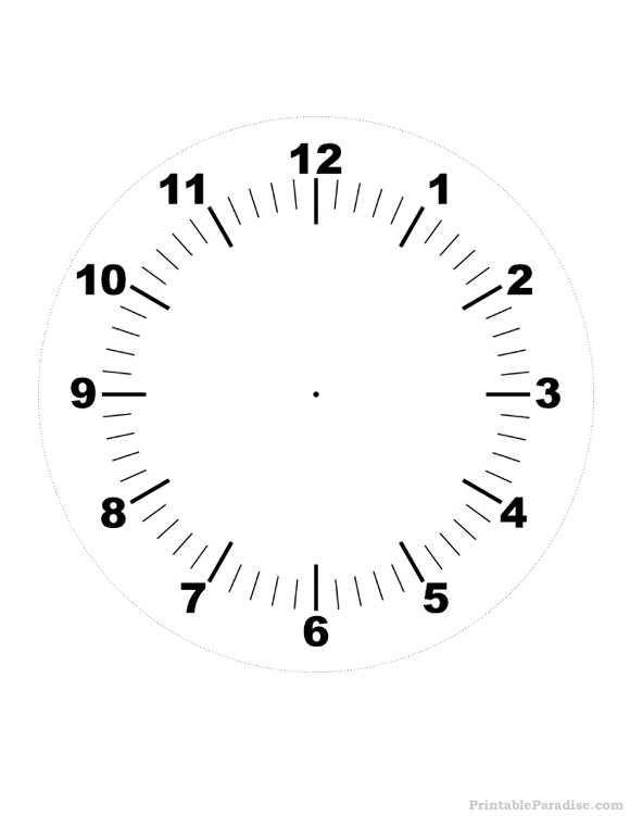 image regarding Printable Clock Hands referred to as Printable Clock - Print Cost-free Clock with No Fingers