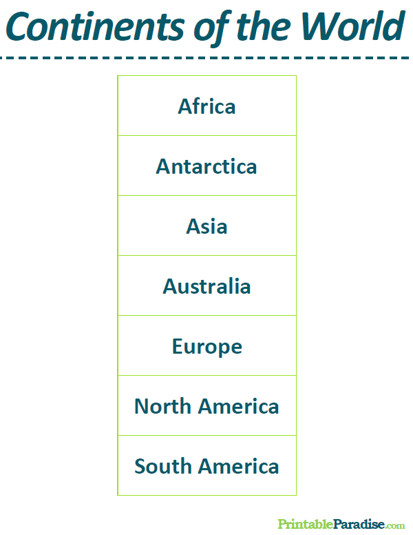 List Of The Continents Of The World - List of continents in the world