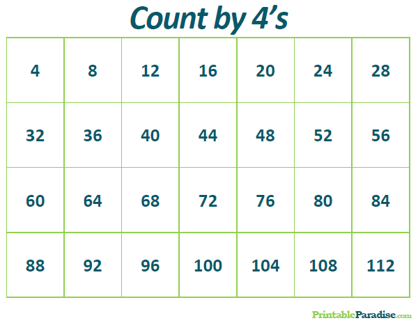 Printable Count by 4's Practice Chart