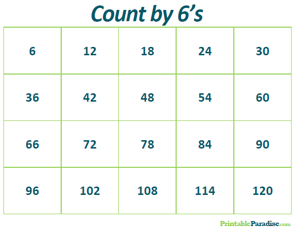 Count By 6 Practice Chart on Www Coloring Pages Shapes