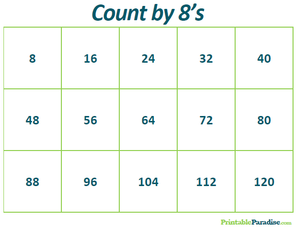 Printable Count by 8's Practice Chart