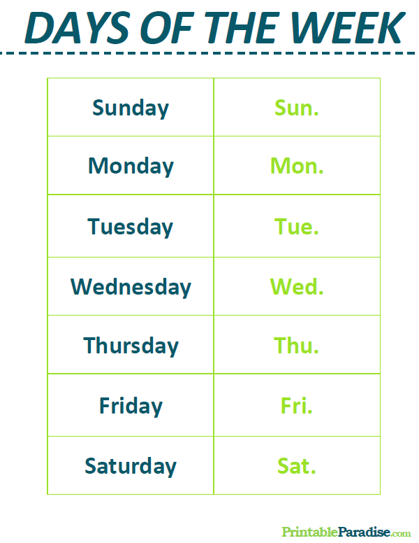 Printable List of the Days of the Week