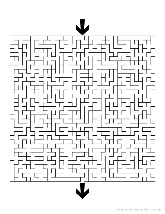 Printable Difficult Square Maze