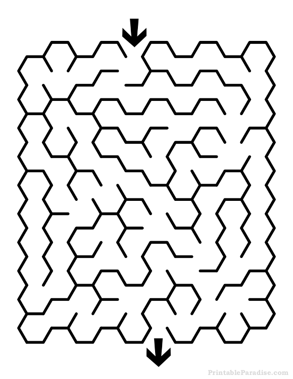 Printable Hexagon Maze - Easy Difficulty