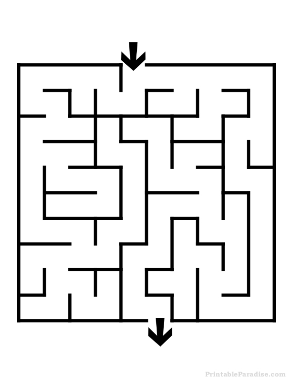 Printable Square Maze - Easy Difficulty