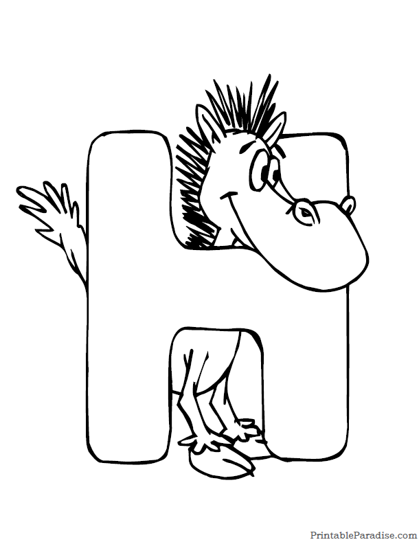 printable letter h coloring page