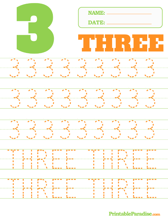 Number 3 Tracing Worksheet – Number 3 Worksheet