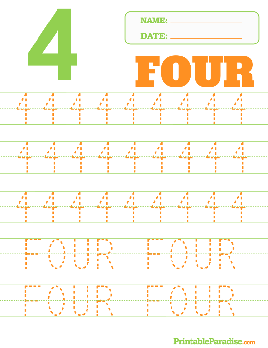 Printable Dotted Number Tracing Worksheets. Number 4 Dotted Trace Sheet. Worksheet. Number Tracing Worksheets At Mspartners.co