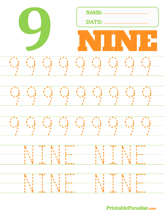 Number 9 Tracing Worksheet