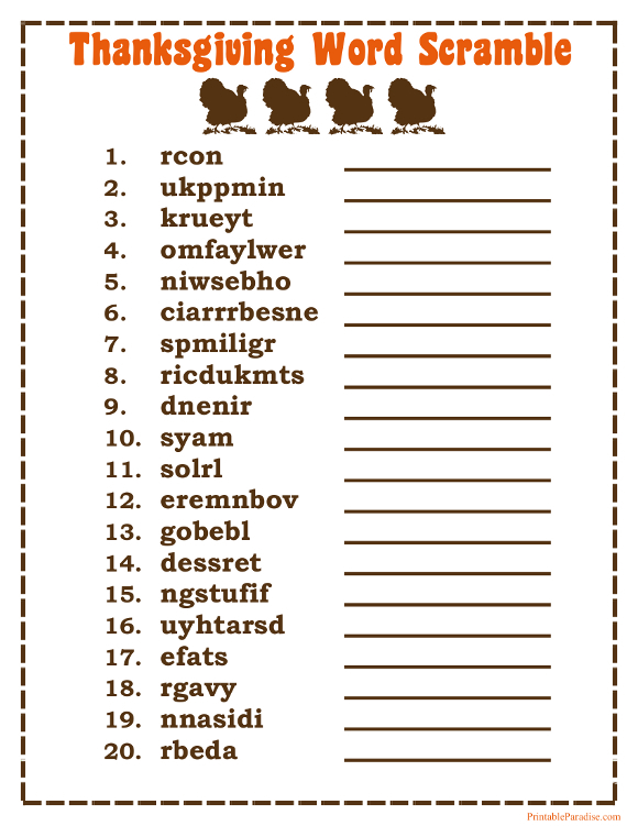 Printable Thanksgiving Word Scramble Game