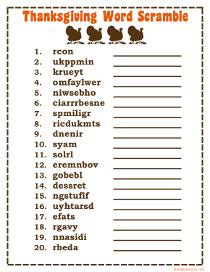 Printable Word Scrambles - Print Free Word Scramble Games