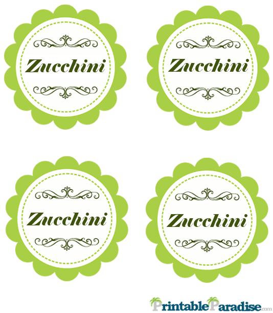 Printable Zucchini Jar Canning Labels