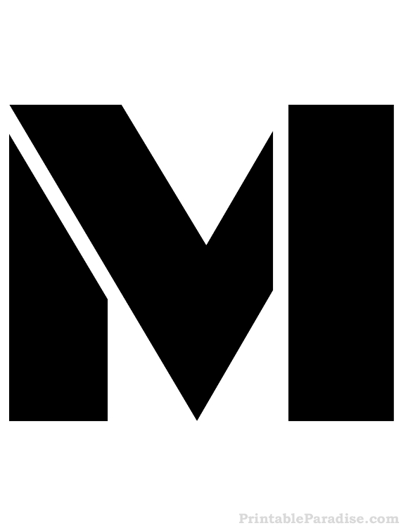 Printable Letter M Stencil on Www Coloring Pages Shapes